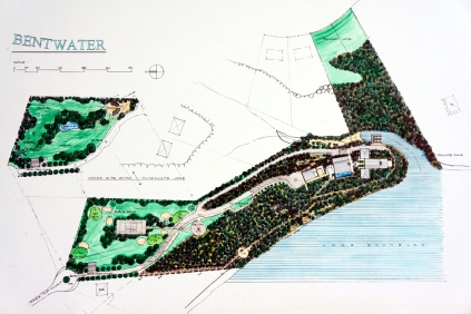 rendered conceptual schematic site plan, plastic lead on mylar, watercolor on paper