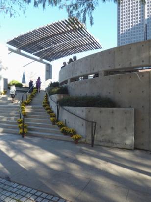 Flora St. arc wall, steps and trellis