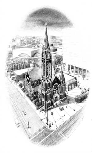centennial rendering, prismacolor on vellum