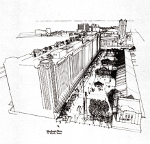 bird's eye rendering of the plaza