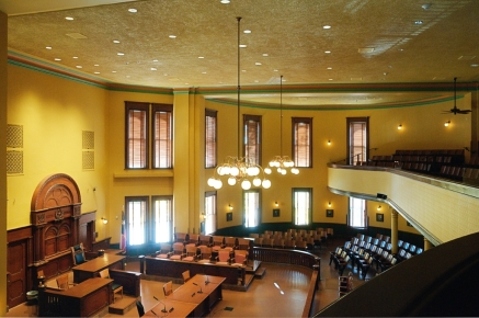 district courtroom from the balcony