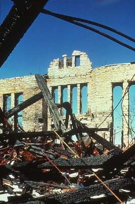 rubble from fire in the former district courtroom