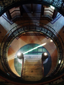 ground level glass floor and staircase in the rotunda