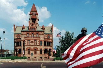 courthouse , flag and Audie Murphy
